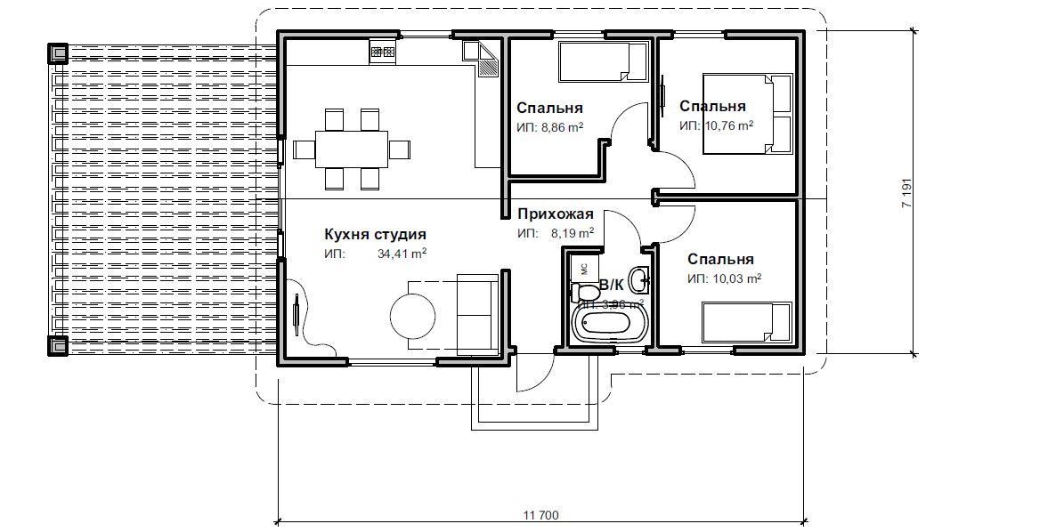 План одноэтажного дома 76м2