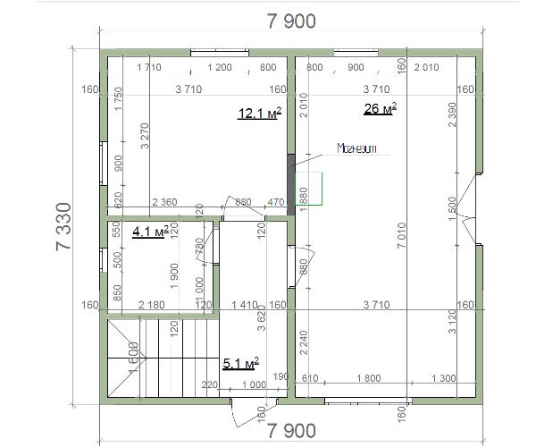 План первого этажа, домика с мансардой из СИП-панелей по канадской технологии, 102 м2
