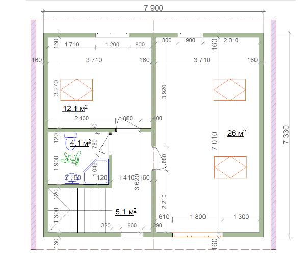 План второго этажа, домика с мансардой из СИП-панелей по канадской технологии, 102 м2
