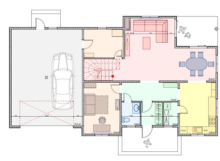 План первого этажа двухэтажного дома для большой семьи, 242 м2