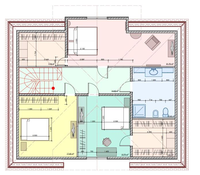 План второго этажа двухэтажного дома для большой семьи, 242 м2