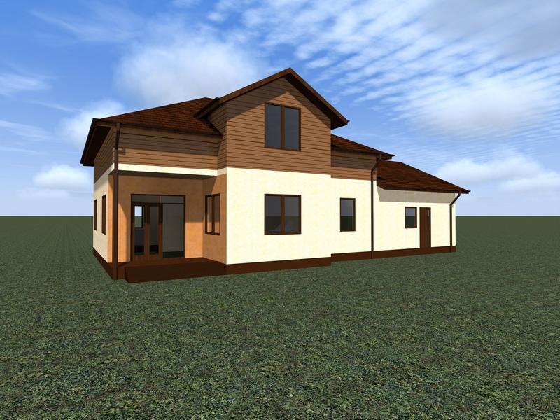 Визуализация двухэтажного дома для большой семьи, 242 м2