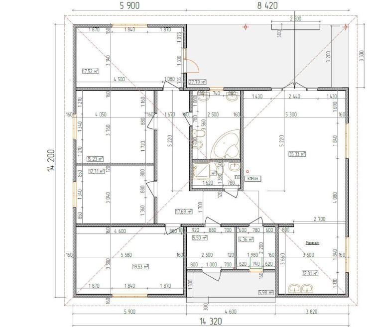 Планировка дома по Канадской технологии из СИП-панелей, одноэтажный с четырехскатной крышей, 150 м2