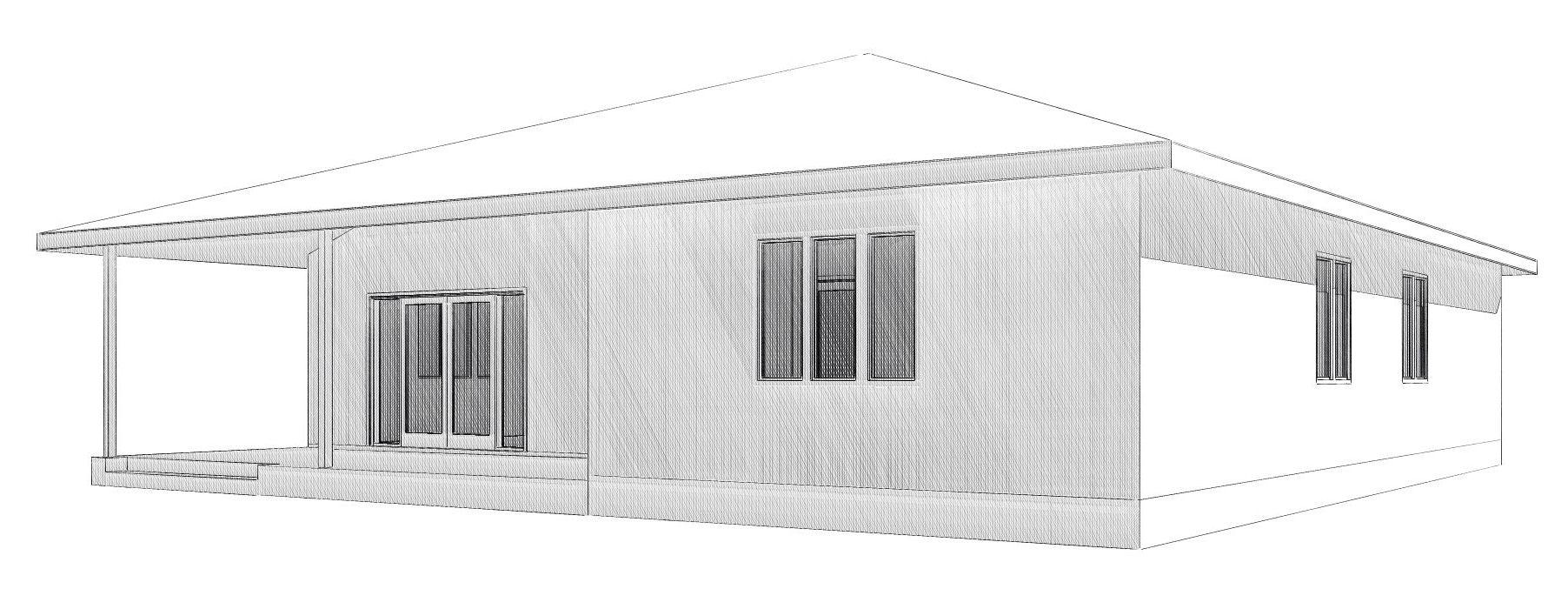 Визуализация задней части одноэтажного дома для всей семьи из СИП-панелей по Канадской технологии, 150 м2