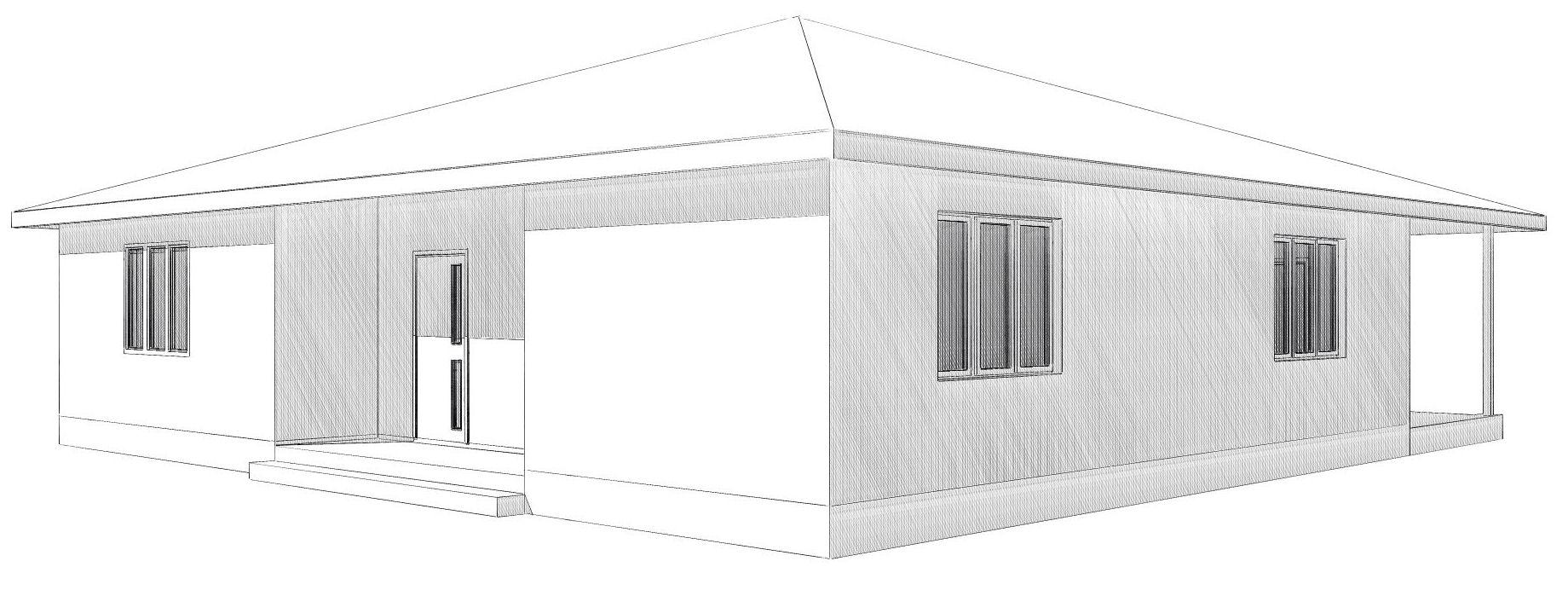 Визуализация передней части одноэтажного дома для всей семьи из СИП-панелей по Канадской технологии, 150 м2