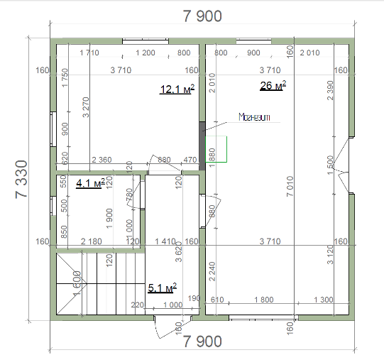 Планировка первого этажа коттеджа из СИП-пенелей по Канадской технологии, 102 м2