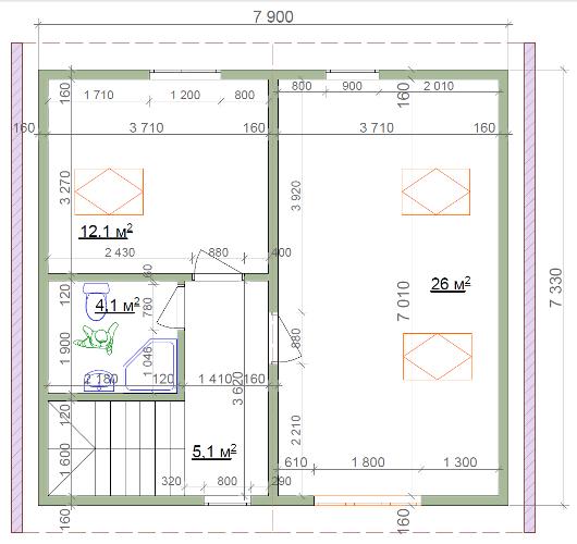 Планировка второго этажа коттеджа из СИП-пенелей по Канадской технологии, 102 м2