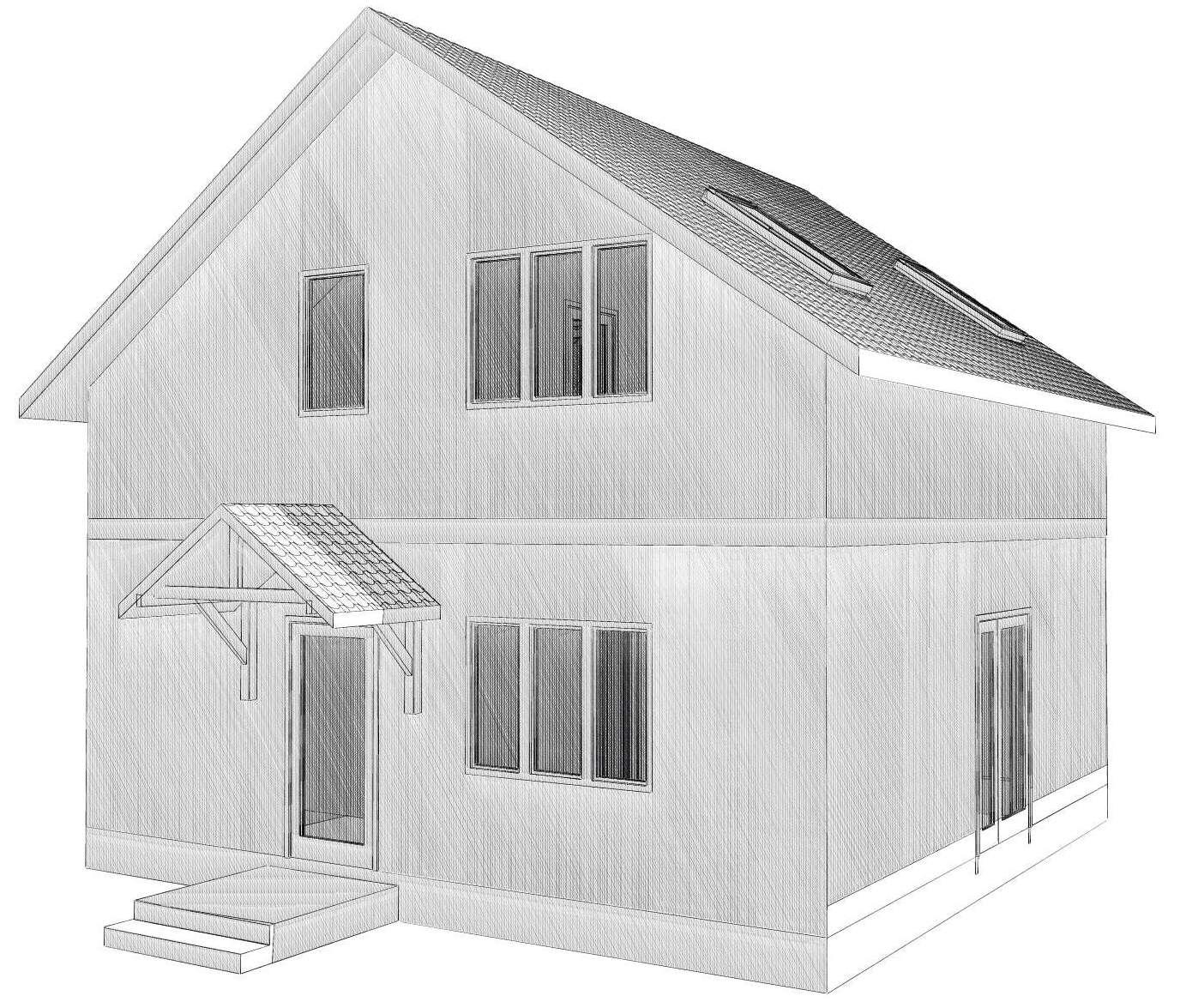 Визуализация домика с мансардой из СИП-панелей по канадской технологии, 102 м2