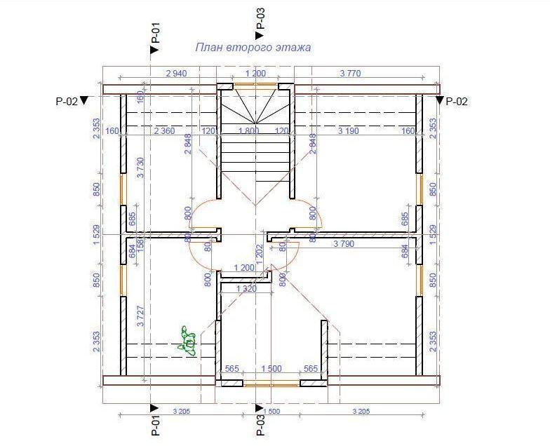 Планировка первого этажа, дома с мансардой из СИП-панелей по канадской технологии, 116 м2