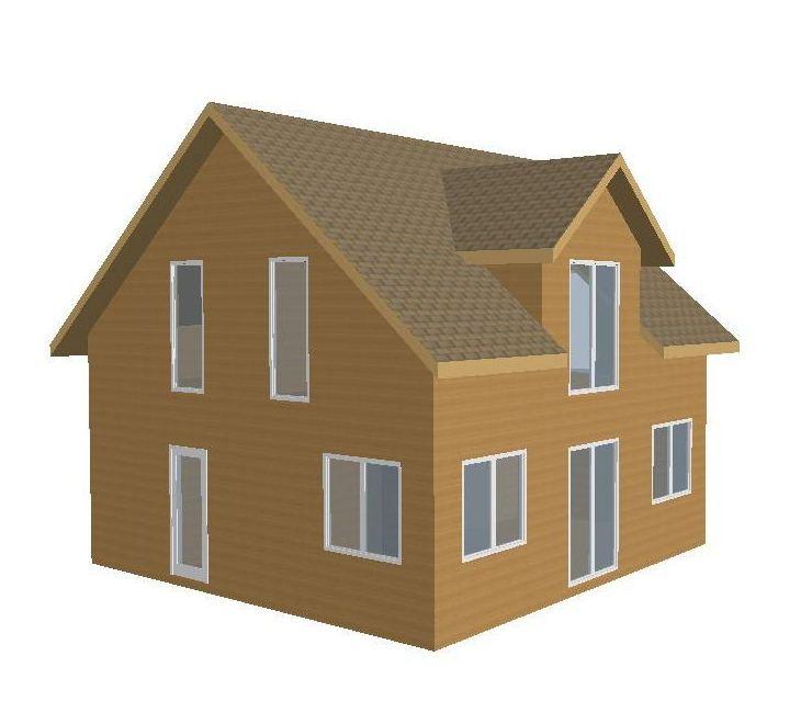 Визуализация дома с мансардой из СИП-панелей по Канадской технологии, 116 м2