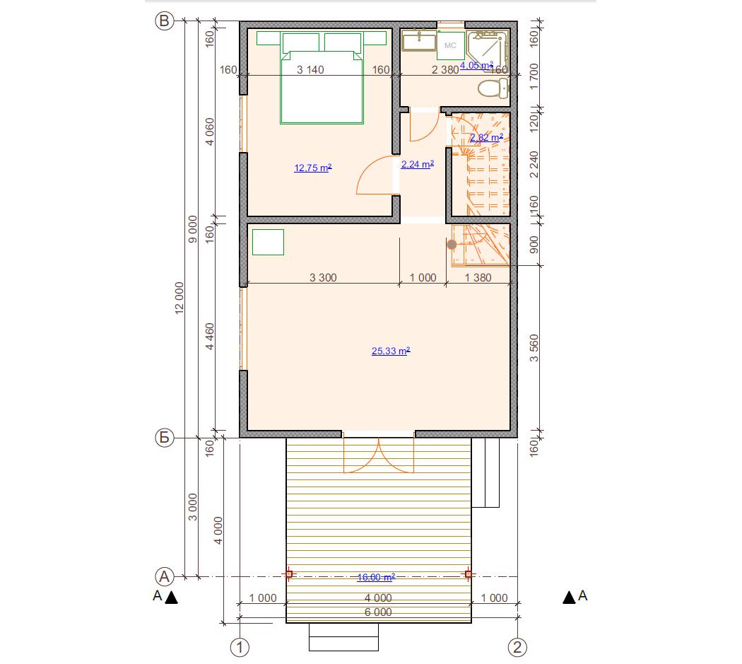 Планировка первого этажа, 2-х этажного дома с балкончиком из СИП-панелей по канадской технологии, 98 м2