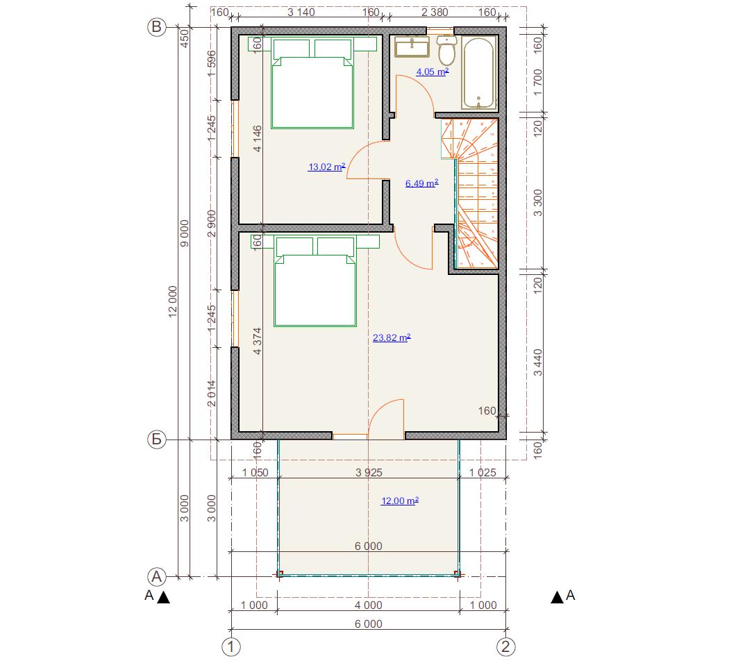 Планировка второго этажа, 2-х этажного дома с балкончиком из СИП-панелей по канадской технологии, 98 м2