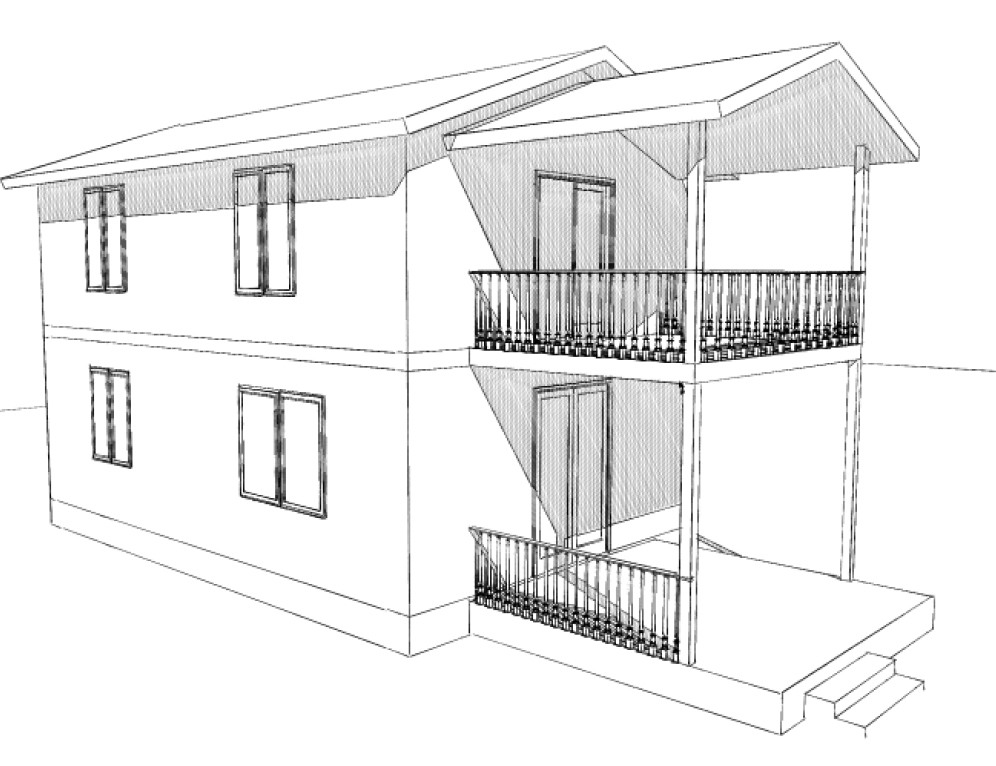 Визуализация 2-х этажного дома с балкончиком из СИП-панелей по канадской технологии, 98 м2
