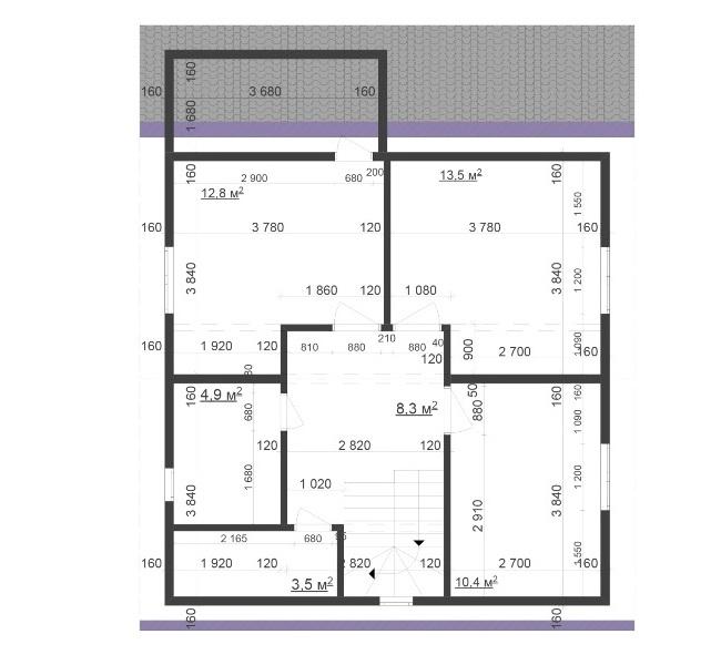 Планировка второго этажа, двухэтажного дома с мансардой из СИП-панелей по Канадской технологии, 117,5 м2