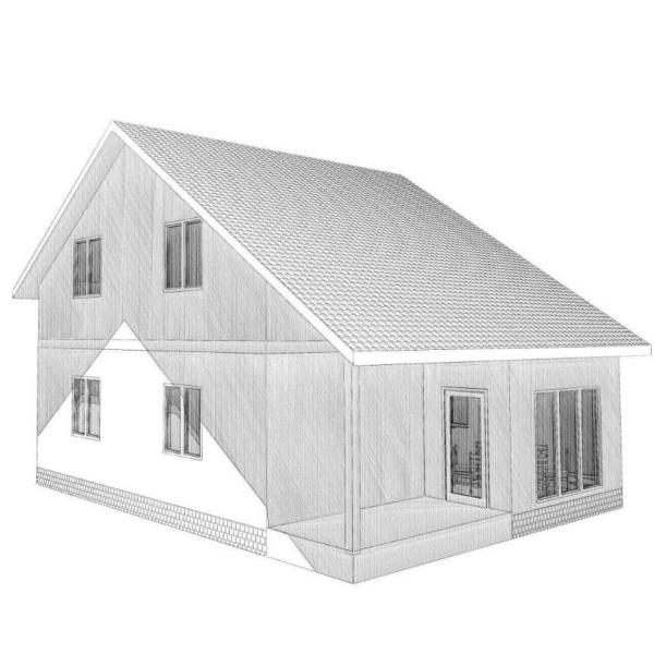 Визуализация двухэтажного дома с мансардой из СИП-панелей по Канадской технологии, 117,5 м2