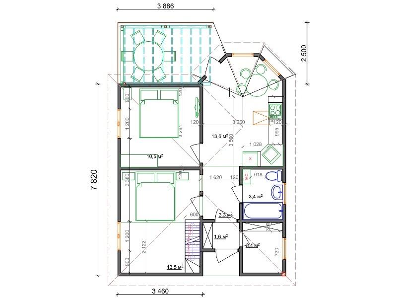 Планировка одноэтажного небольшого домика из СИП-панелей по канадской технологии, 50 м2