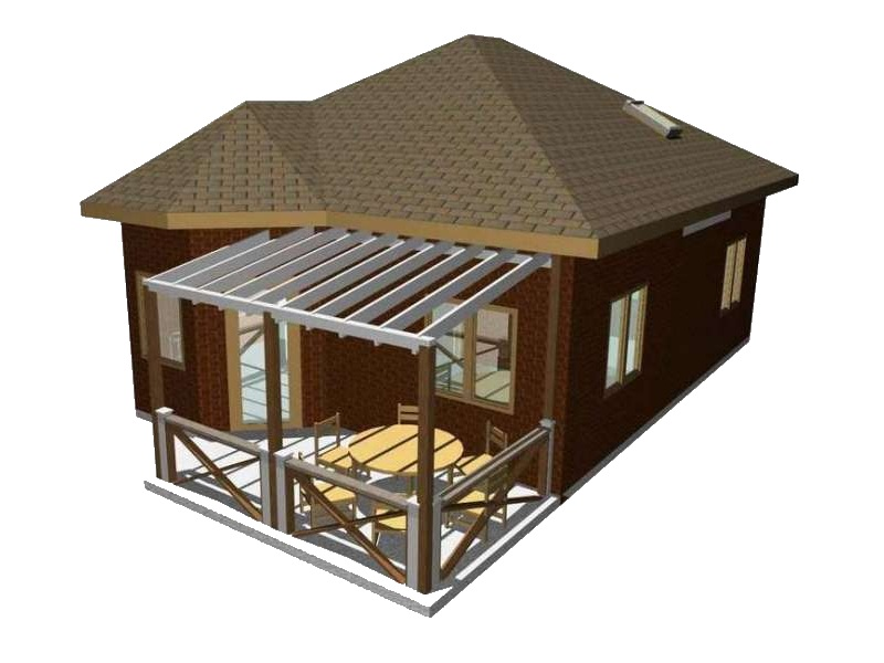 Визуализация дачи с террасой из СИП-панелей по Канадской технологии, 60м2