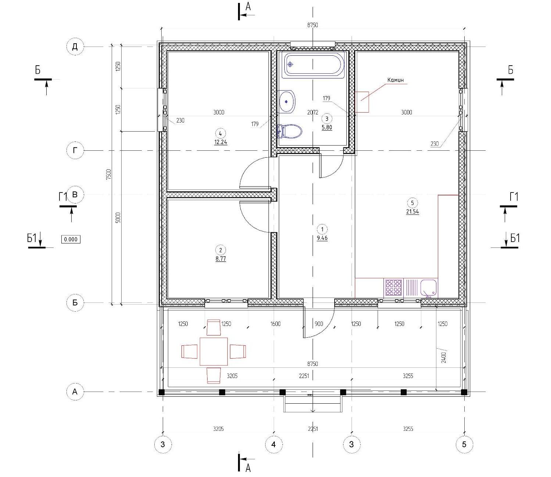 Планировка дома 60м2 с террасой