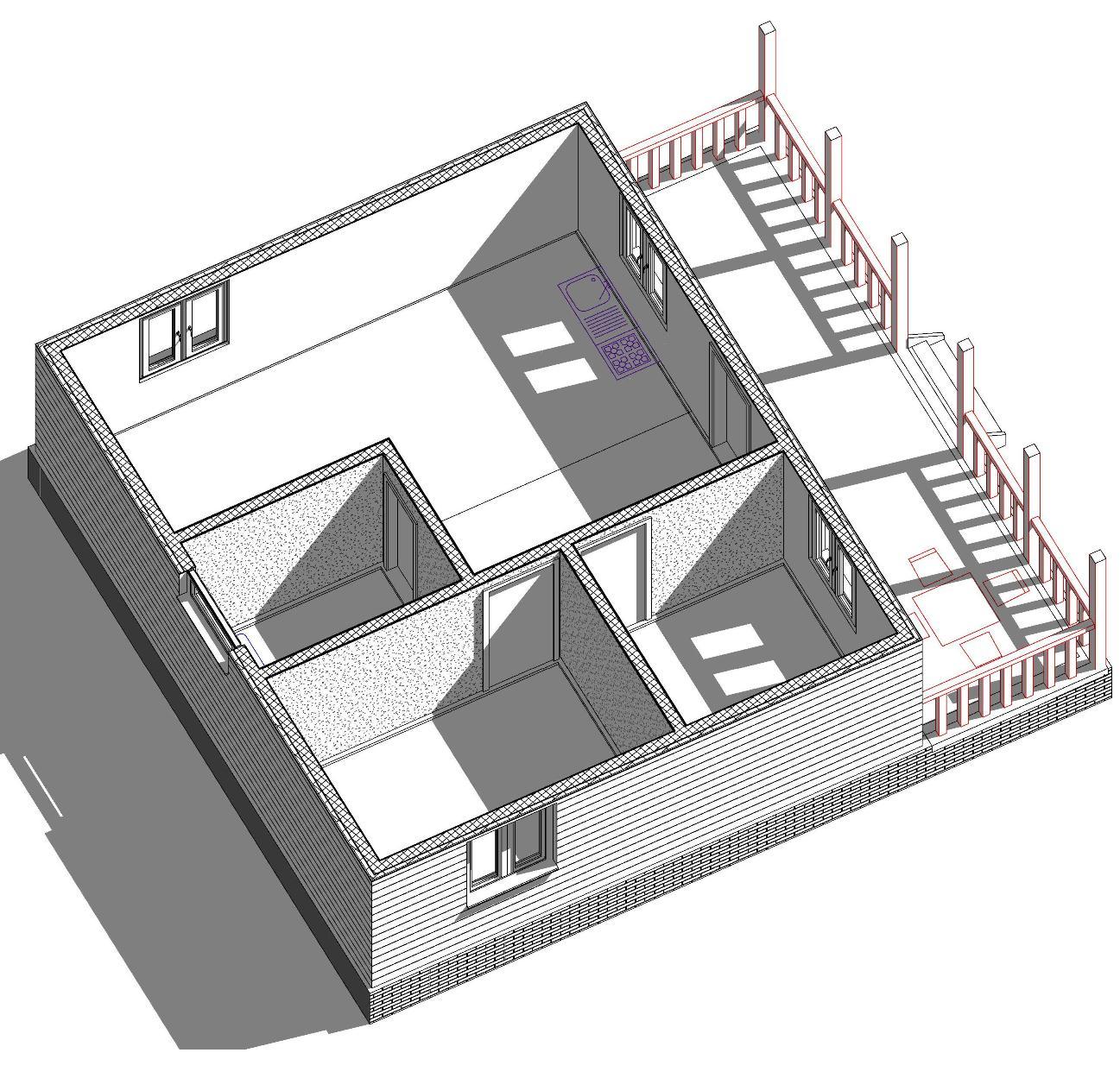Разрез дома 60м2 с террасой
