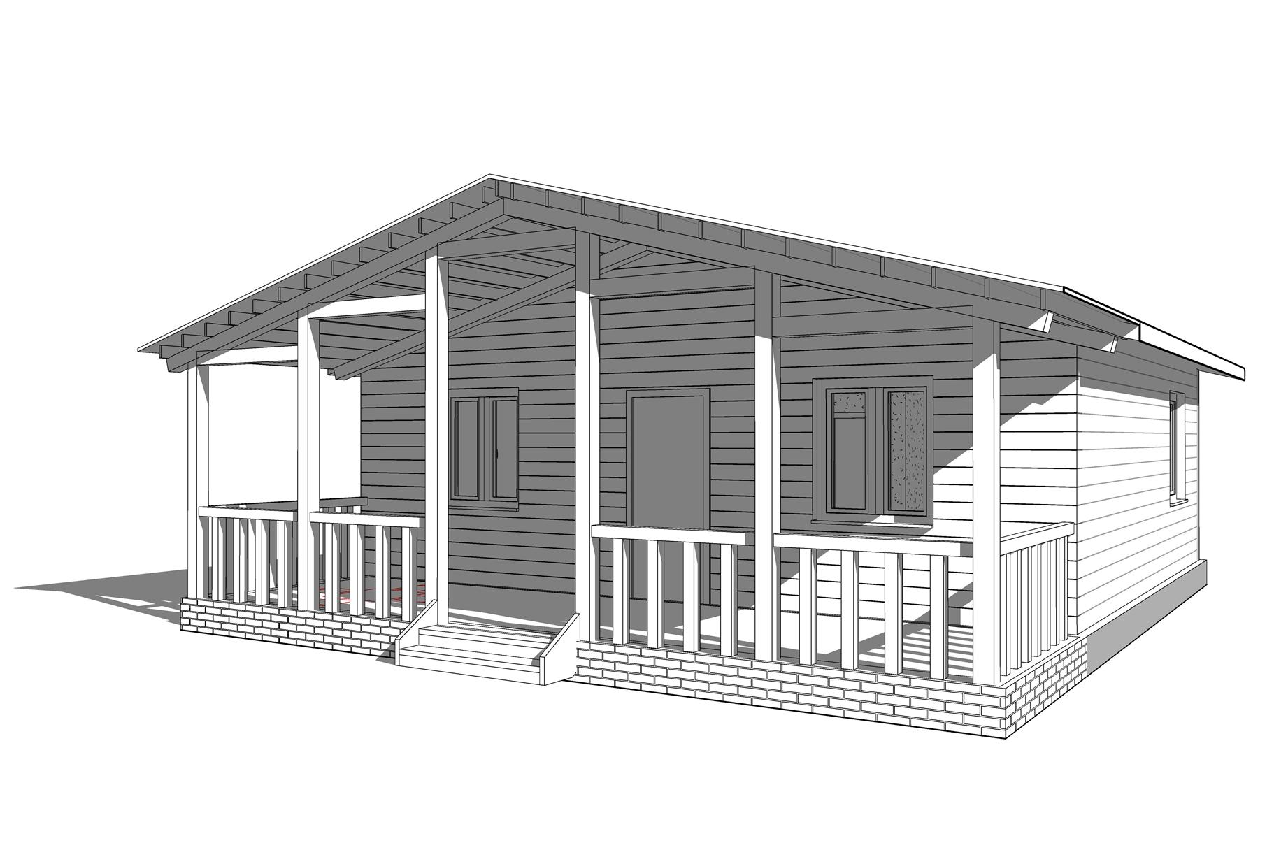 Визуализация дома 60м2 с террасой